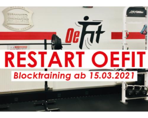 Restart OeFit Blocktraining Light ab 15.03.2021