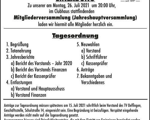 Einladung Mitgliederversammlung (Jahreshauptversammlung) 26.07.2021