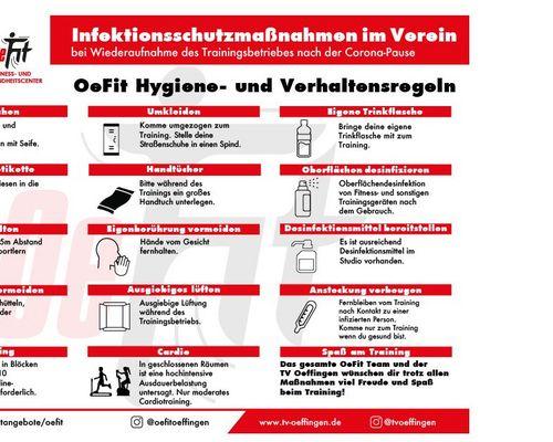 Das OeFit öffnet wieder ab 02.06.2020 -  Hygiene- und Verhaltensregeln