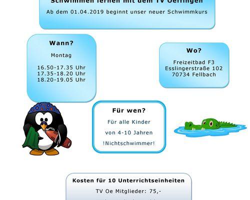 Neue Schwimmkurse ab 01.04.2019